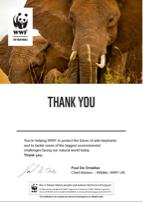 WWF Adopt an Animal Certificate